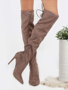 Pointed Toe Lace Back Suede Heels TAUPE