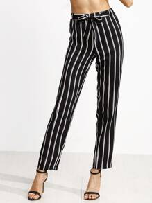 Black Vertical Striped Self Tie Pants