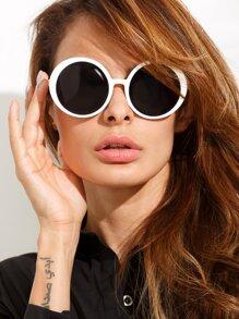 Vintage White Frame Round Lens Sunglasses