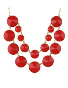 Red Double Layers Statement Necklace