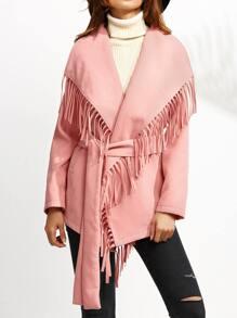Pink Drop Shoulder Belted Oversized Fringe Collar Coat