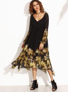 Black Florals V Neck Cutout Back Asymmetrical Dress