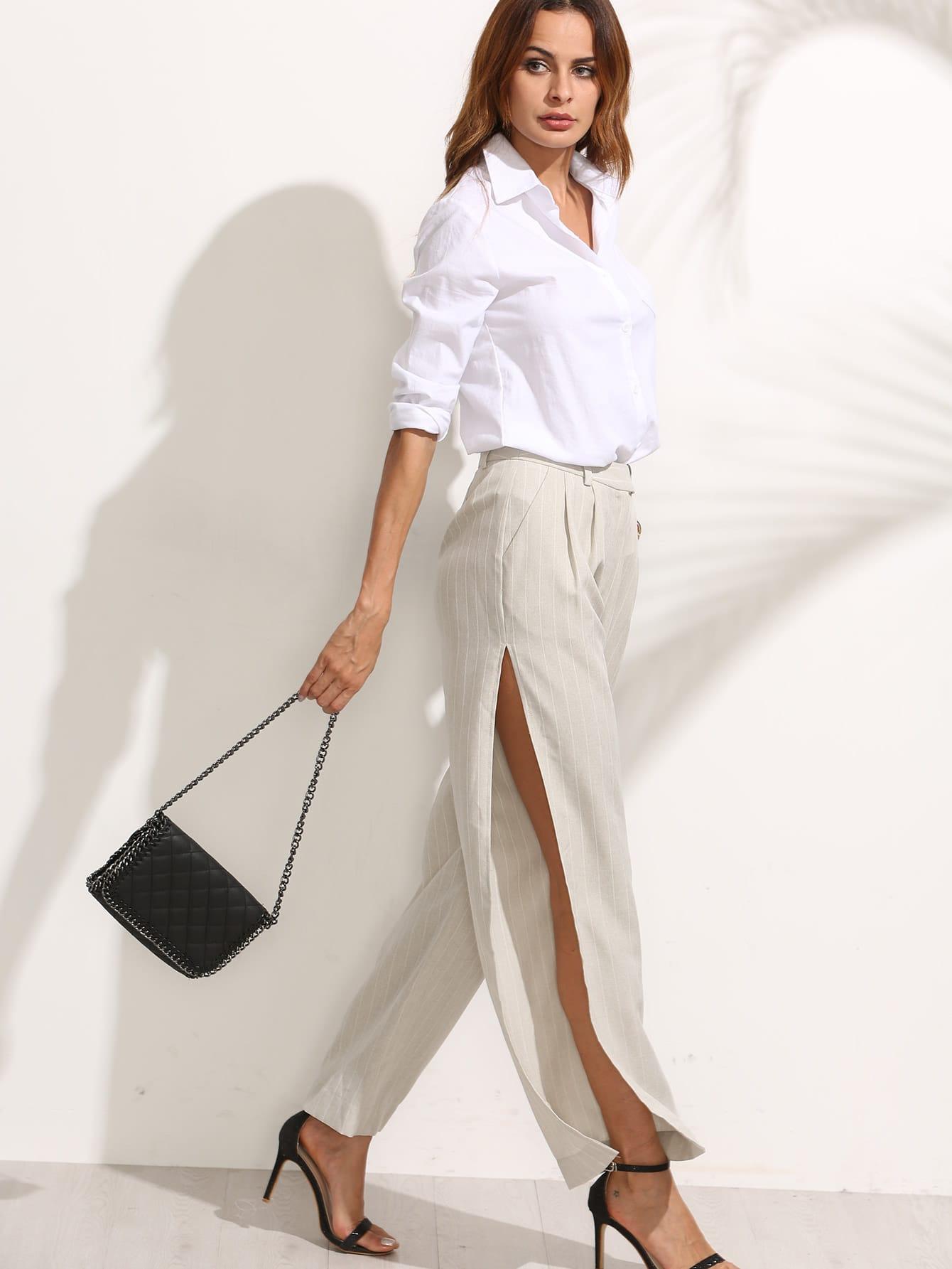Striped Pocket Split Wide-leg PantsStriped Pocket Split Wide-leg Pants<br><br>color: Apricot<br>size: S,XS
