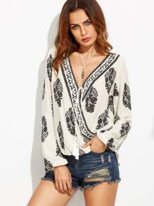 White Botanical Print Draped Blouse