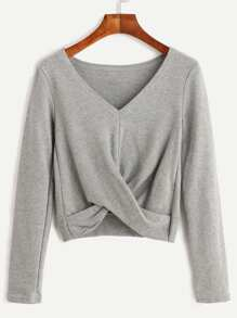 Grey V Neck Twist Front Crop T-shirt