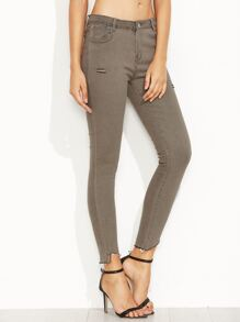 Ripped Asymmetric Hem Skinny Ankle Jeans