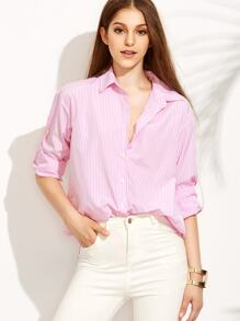 Pink Striped Roll Up Sleeve Buttons Blouse