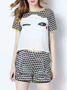Multicolor Eyes Applique Pouf Top With Print Shorts