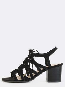 Strappy Slingback Stacked Heels BLACK
