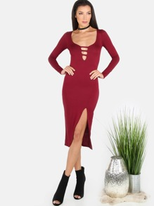 Sleeved Slit Midi Dress WINE