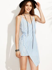 Blue Vertical Striped Self Tie Wrap Asymmetrical Cami Dress