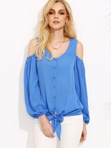 Blue Open Shoulder Lantern Sleeve Tie Front Blouse