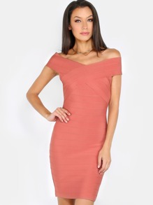 Off The Shoulder Bandage Dress PINK