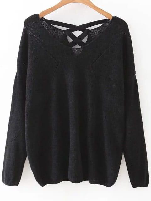 Black V Neck Criss Cross Back KnitwearBlack V Neck Criss Cross Back Knitwear<br><br>color: Black<br>size: one-size