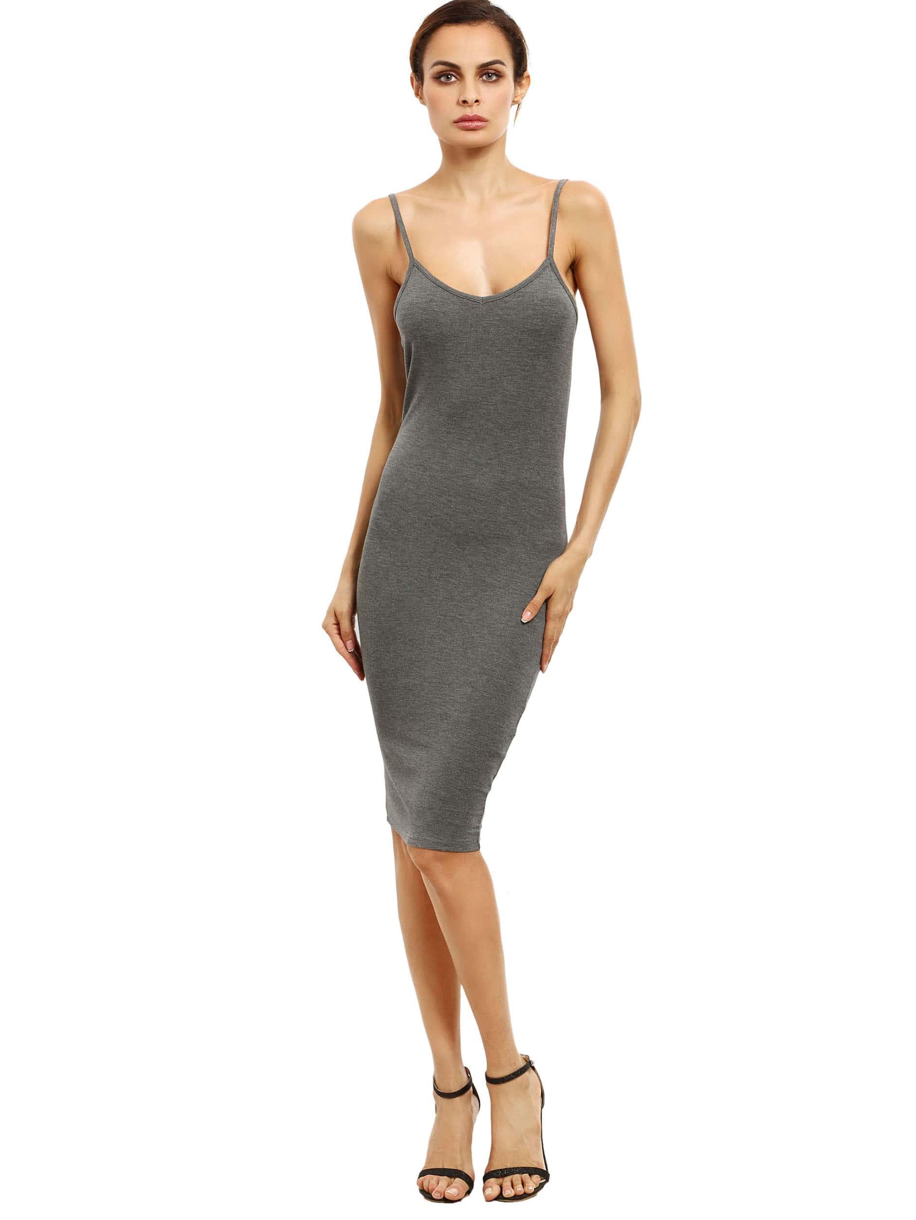 Grey Spaghetti Strap Sheath Dress dress160720761