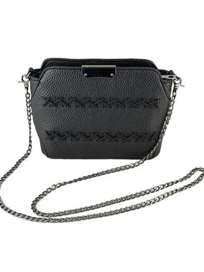 Black Pu Leather Vintage Metal Chain Shoulder Bag For Women