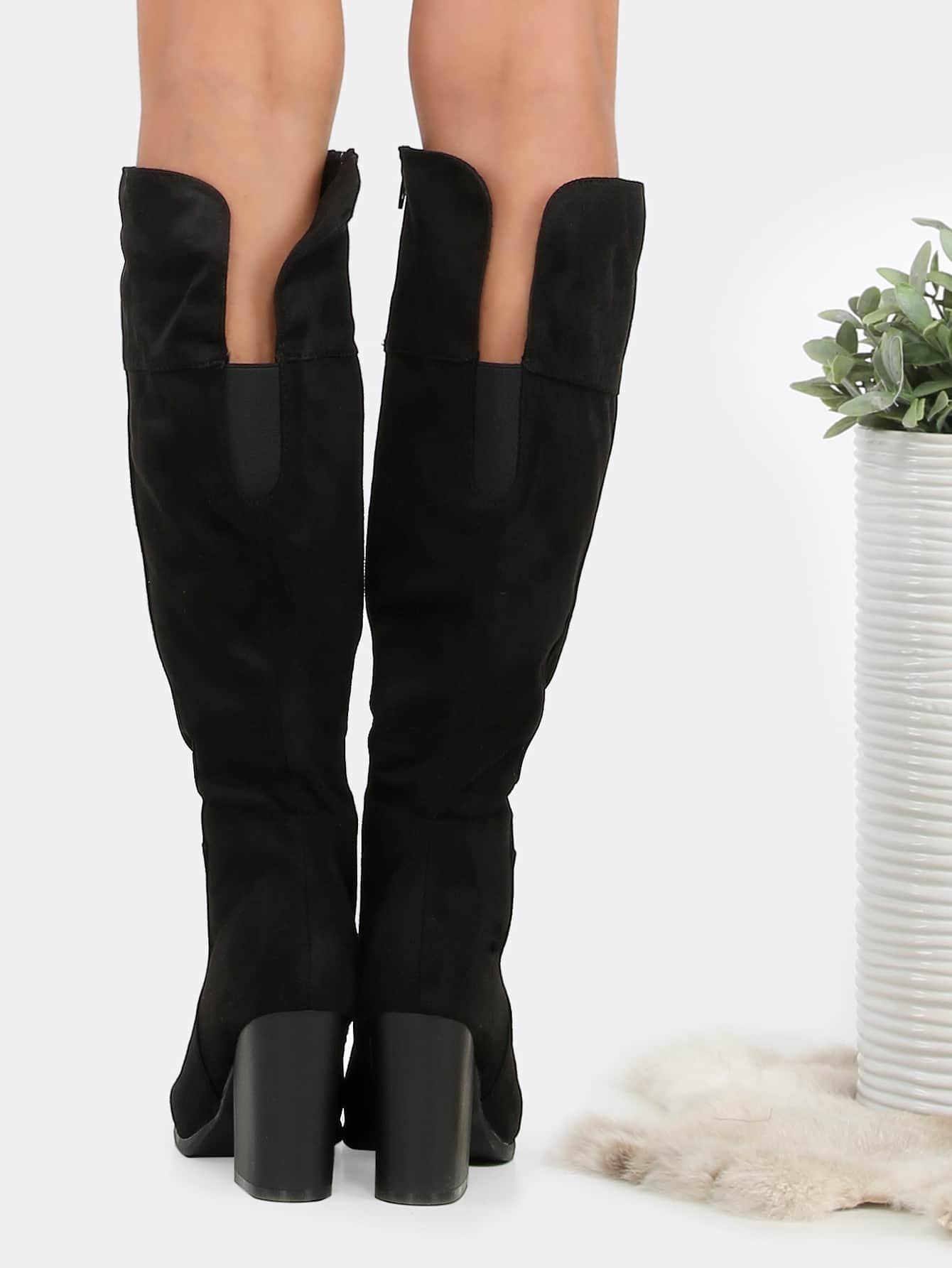 Faux Suede Chunky Heel Boots Black Shein Sheinside