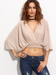Deep V Neck Open Back Lace Up Wrap Crop Top
