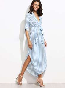 Contrast Vertical Striped Self Tie Shirt Dress