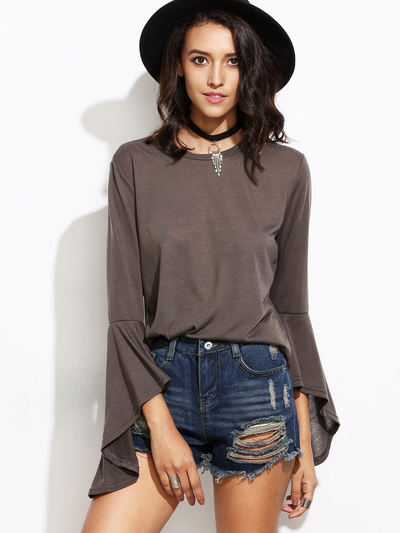 Grey Bell Sleeve Loose T Shirt Shein Sheinside