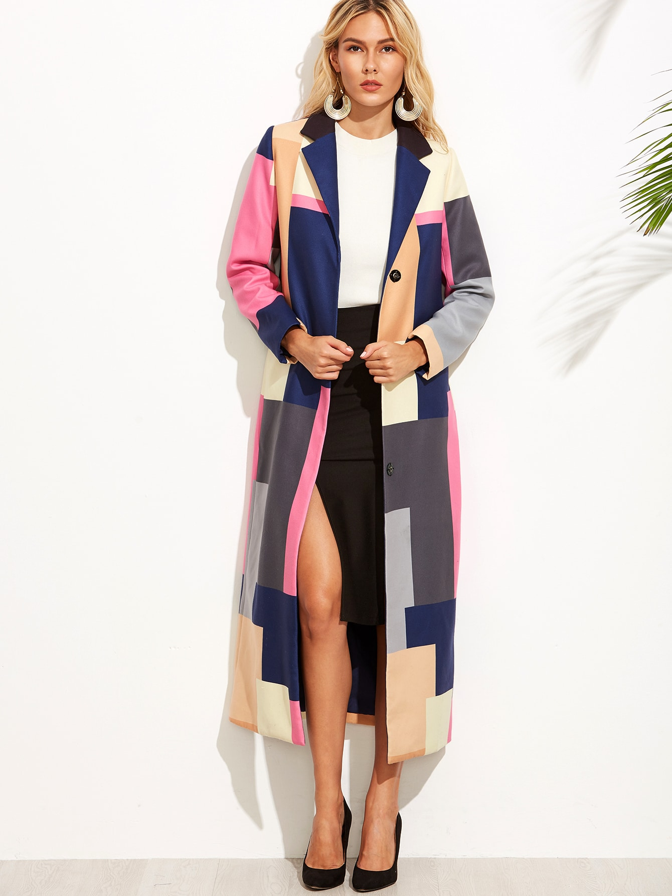 Color Block Notch Collar Button Front Long Coat