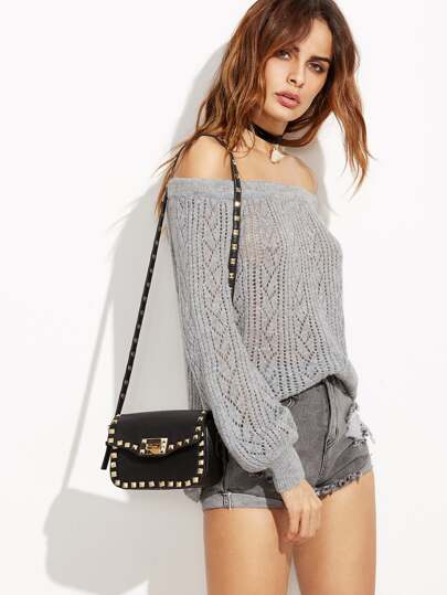 Grey Lantern Sleeve Off The Shoulder Eyelet Sweater