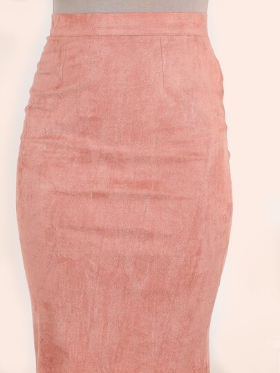 Pink Suede Pencil Skirt -SheIn(Sheinside)
