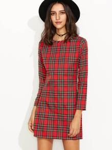 Red Plaid Zipper Back Long Sleeve Sheath Dress