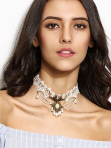 White Faux Pearl Pendant Lace Choker Necklace