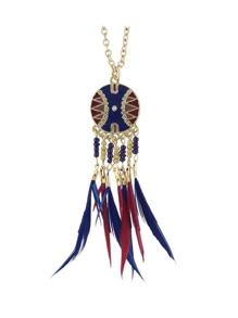 Navyblue Dream Catcher Style Colorful Feather Pendant Necklace