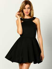 Black Halter Backless Flare Dress