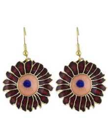Winered Enamel Big Flower Drop Earrings