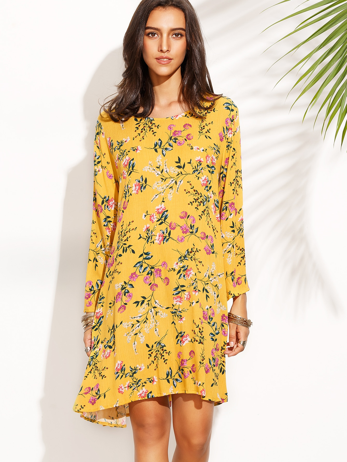 Yellow Floral Print Long Sleeve Shift Dress -SheIn(Sheinside)