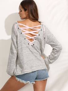 Grey Lace-up Back Long Sleeve Sweatshirt