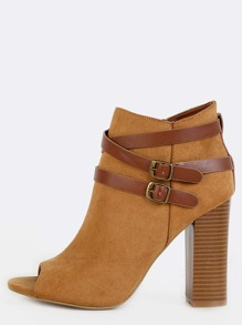 Strappy Peep Toe Booties NATURAL