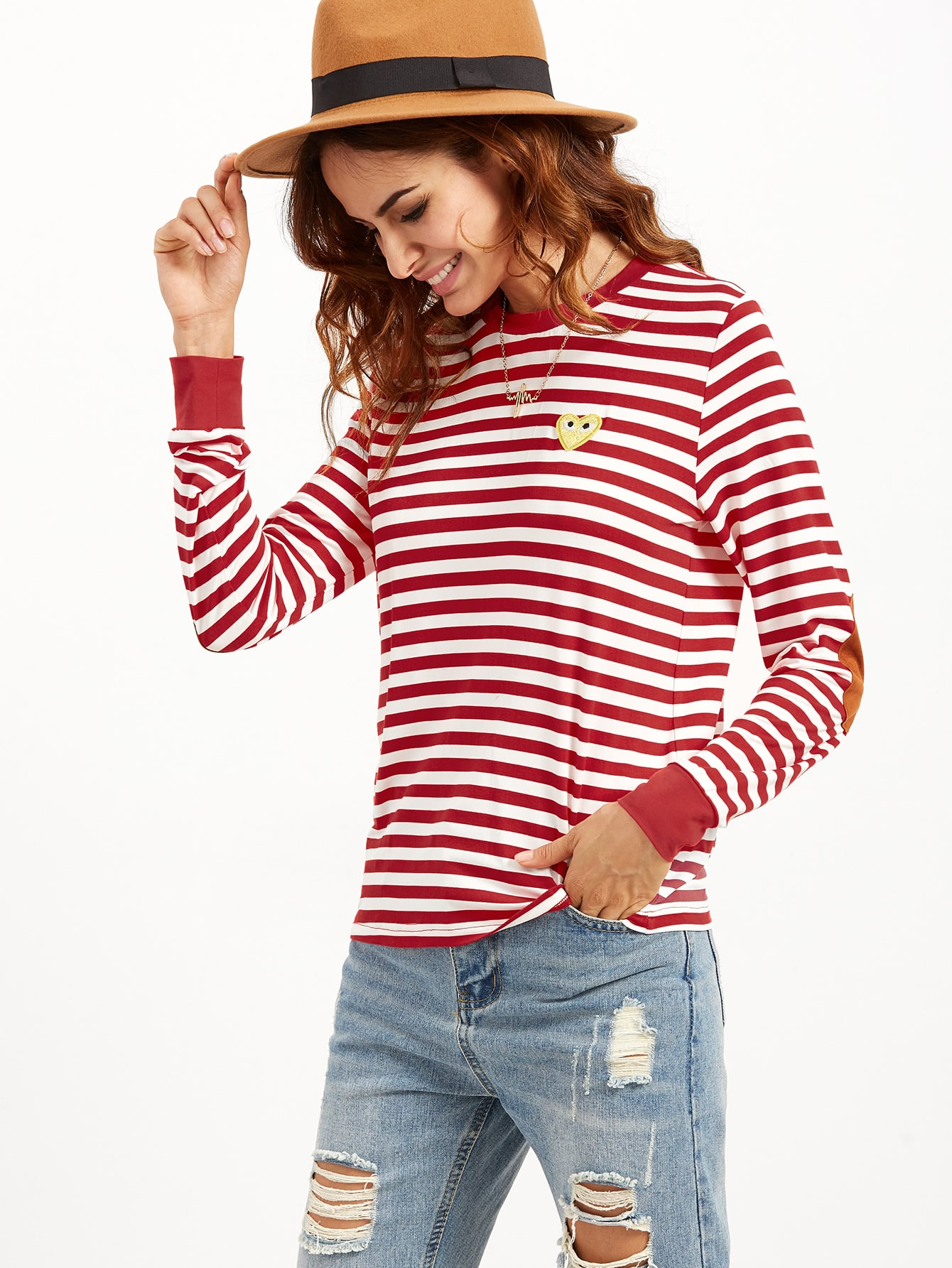 Red Striped Ringer T-shirt With Elbow PatchRed Striped Ringer T-shirt With Elbow Patch<br><br>color: Red<br>size: L,M,S,XS
