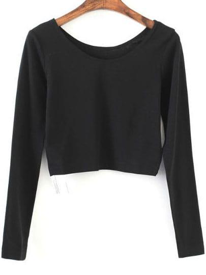 Фото Black Long Sleeve Crop T-Shirt. Купить с доставкой