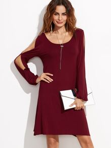 Burgundy Split Shoulder Lace Up V Back Dress