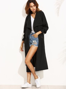 Black Lapel Pocket Split Long Sleeve Outerwear