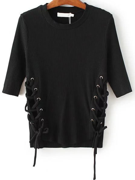 Black Lace Up Dip Hem Ribbed Knit Sweater sweater160808202