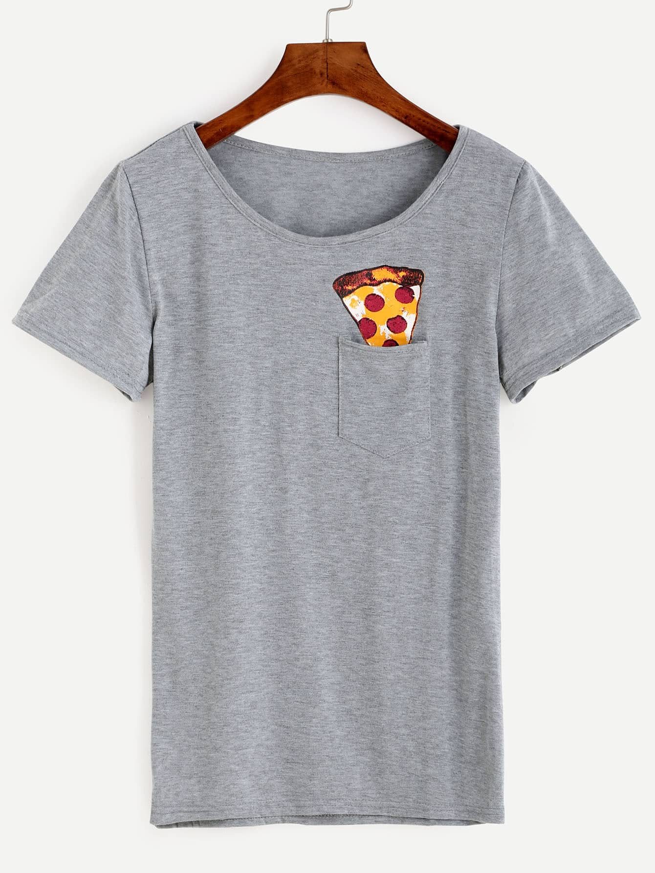 Grey pizza print pocket t shirt shein sheinside for Pocket t shirt printing