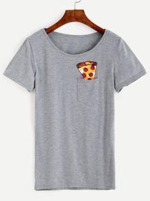 Camiseta estampado helado bolsillo - gris