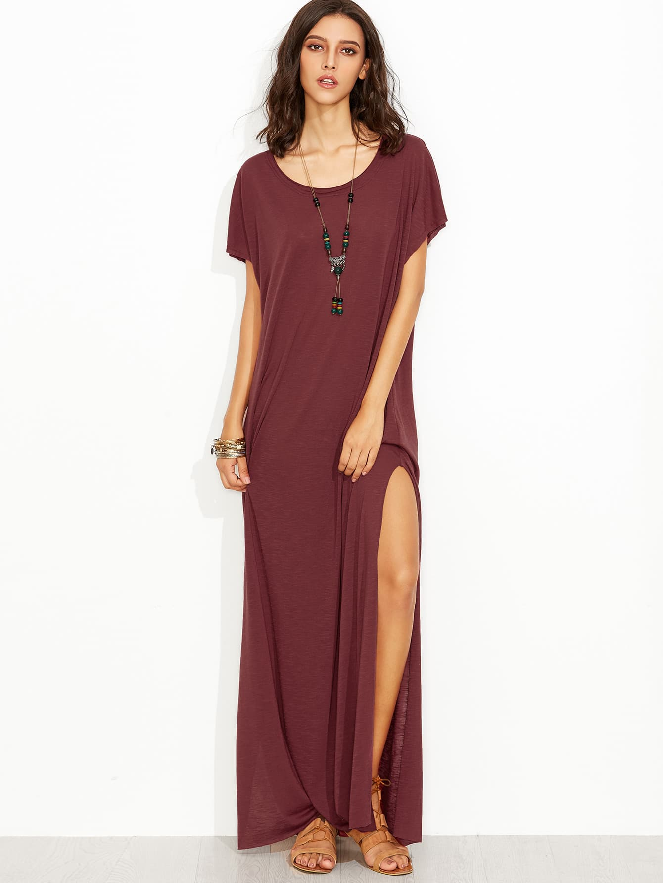 Side Slit Loose Fit Maxi Tee Dress Shein Sheinside