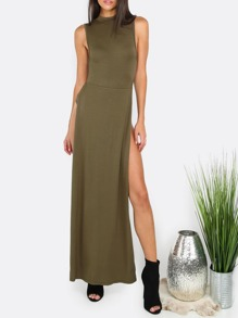 Army Green Split Side Sleeveless Maxi Dress