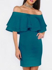 Green Ruffle Off The Shoulder Sheath Dress