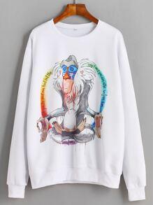 White Cartoon Baboon Print Drop Shoulder Sweatshirt