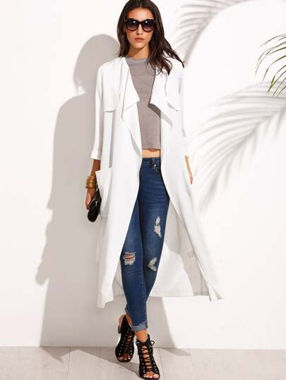 White Lapel Tie Waist Pocket Long Outerwear