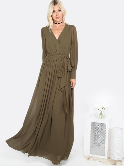 Olive Green Cuff Sleeve Surplice Wrap Dress