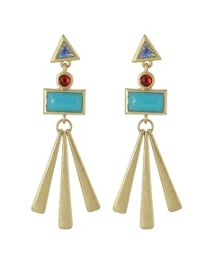 Blue Acrylic Red Rhinestone Geometric Earrings