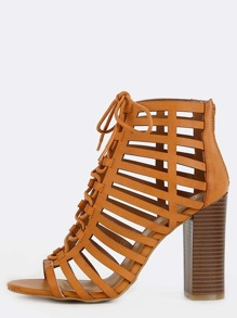 Strappy Lace Up Chunky Heels TAN